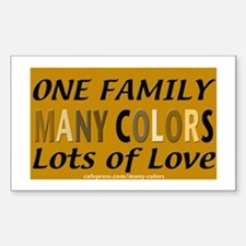 Many Color Carmel Bkgrnd Rectangle Decal