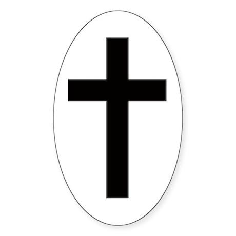 Cross Oval Sticker