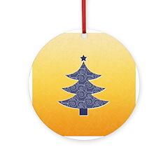 Blue & Orange Seasonal Ornament (Round)