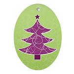 Purple & Green Seasonal Oval Ornament