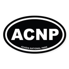 Acadia National Park Black Euro Oval Bumper Stickers