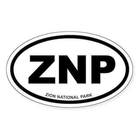 Zion National Park Euro Oval Sticker