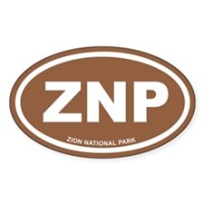 Brown Zion National Park Euro Oval Decal