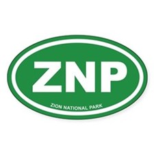 Green Zion National Park Euro Oval Decal