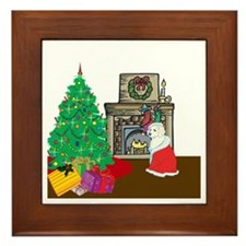 Santa Yellow Lab Framed Tile