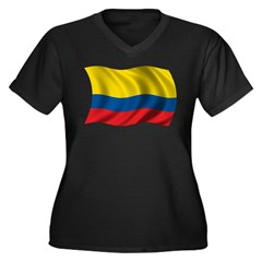 Wavy Colombia Flag Women's Plus Size V-Neck Dark T