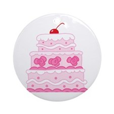 Pink Cake Ornament (Round)