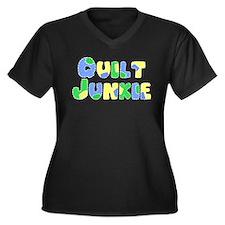 Quilt Junkie Women's Plus Size V-Neck Dark T-Shirt