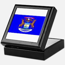 Michigan Blank Flag Keepsake Box
