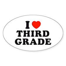 I Heart/Love Third Grade Oval Decal
