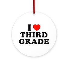 I Heart/Love Third Grade Ornament (Round)