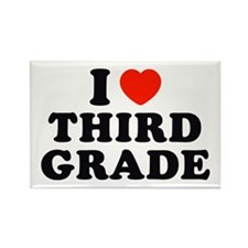I Heart/Love Third Grade Rectangle Magnet