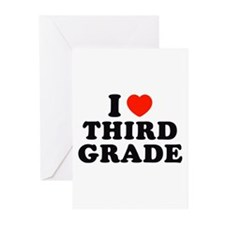 I Heart/Love Third Grade Greeting Cards (Pk of 10)