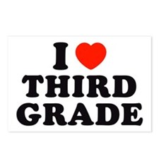 I Heart/Love Third Grade Postcards (Package of 8)