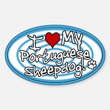 Hypno I Love My Portuguese Sheepdog Sticker Blue