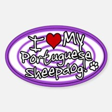 Hypno I Love My Portuguese Sheepdog Oval Decal