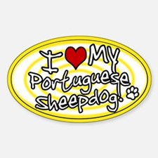 Hypno I Love My Portuguese Sheepdog Sticker Ylw