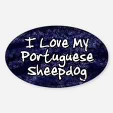 Funky Love Portuguese Sheepdog Oval Decal