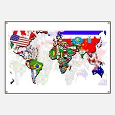 World Flags Map Banner