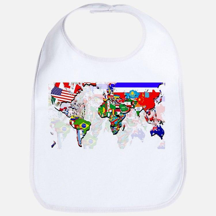 World Flags Map Bib