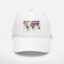 World Flags Map Baseball Baseball Cap