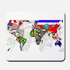 World Flags Map Mousepad