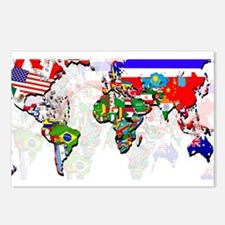 World Flags Map Postcards (Package of 8)
