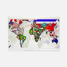 World Flags Map Rectangle Magnet