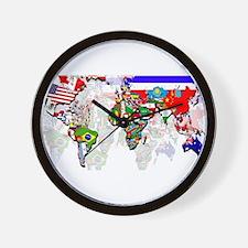 World Flags Map Wall Clock