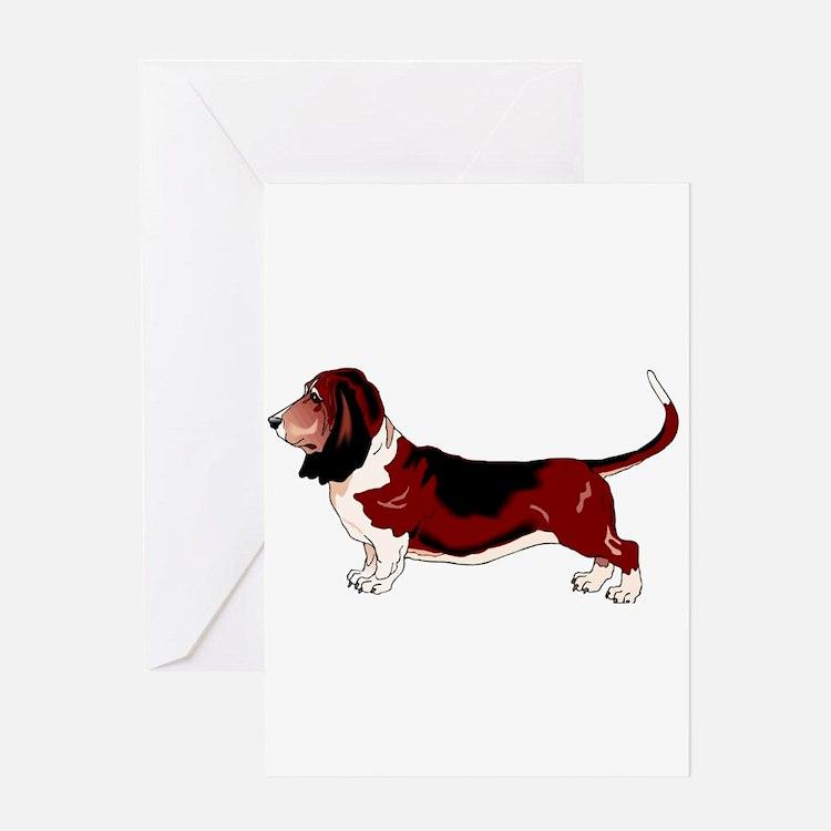 Cute Basset hound art Greeting Card