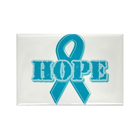 Teal Hope Ribbon Rectangle Magnet