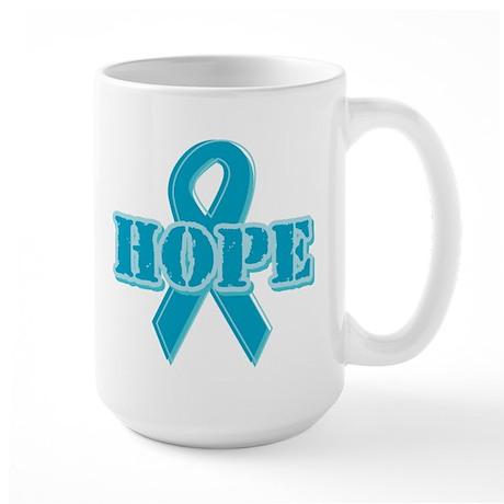 Teal Hope Ribbon Large Mug
