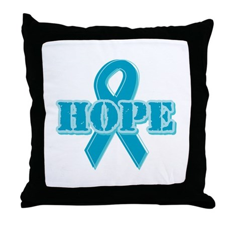 Teal Hope Ribbon Throw Pillow