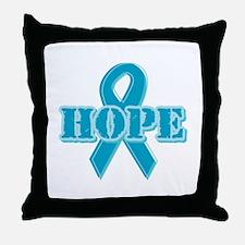 Teal Hope Ribbon Throw Pillow
