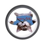 Yoga Kitty Cat Wall Clock