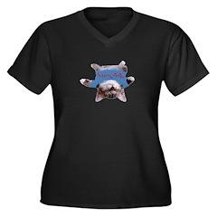 Yoga Kitty Cat Women's Plus Size V-Neck Dark T-Shi
