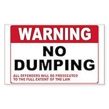Warning No Dumping Rectangle Sticker 10 pk)