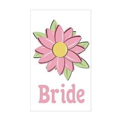 Pink Spring Flower Bride Rectangle Sticker