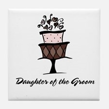 Daughter of the Groom Pink Cake Tile Coaster