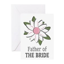 Pink Flower Father of the Bride Greeting Cards (Pa
