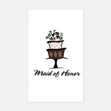 Maid of Honor Pink Cake Rectangle Decal