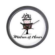 Matron of Honor Pink Cake Wall Clock