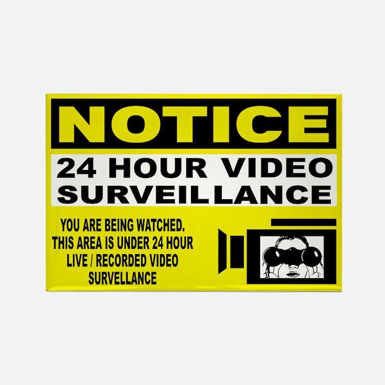 Security Camera Warning Rectangle Magnet