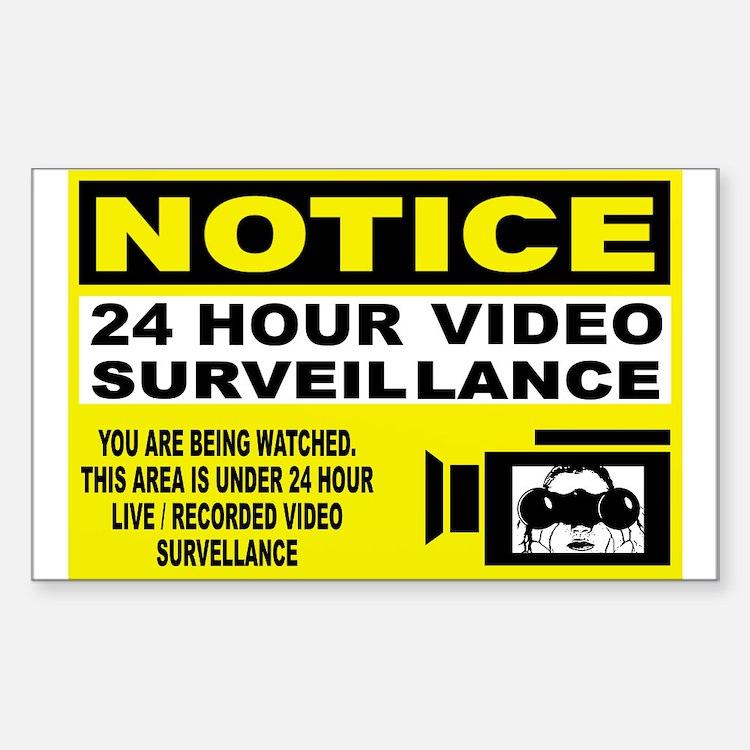 Security Camera Warning Rectangle Decal