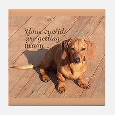 Hypnotizing Dachshund Dog Tile Coaster