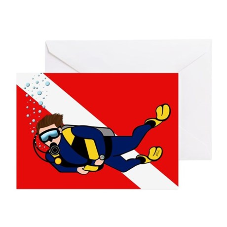 Scuba Diver & Dive Flag Greeting Cards (Package of