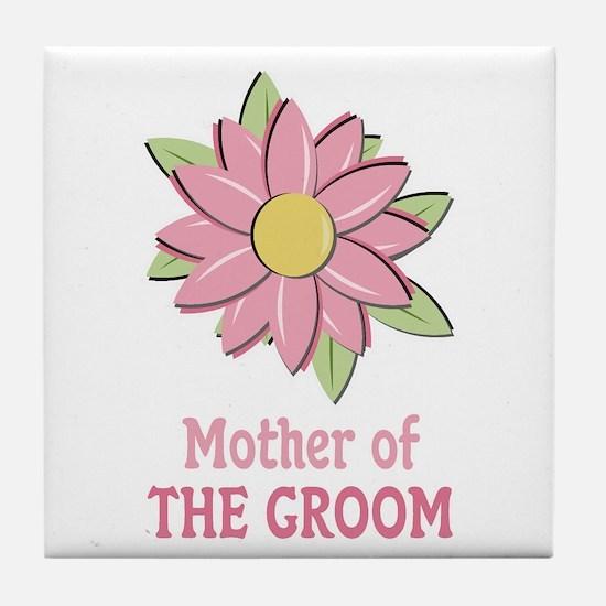 Pink Spring Flower Mother of the Groom Tile Coaste
