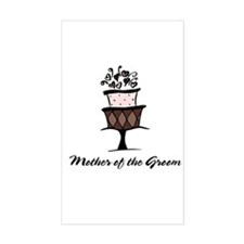 Mother of the Groom Pink Cake Sticker (Rectangular