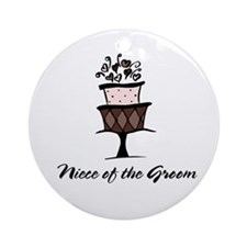 Niece of the Groom Pink Cake Ornament (Round)