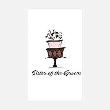 Sister of the Groom Pink Cake Sticker (Rectangular